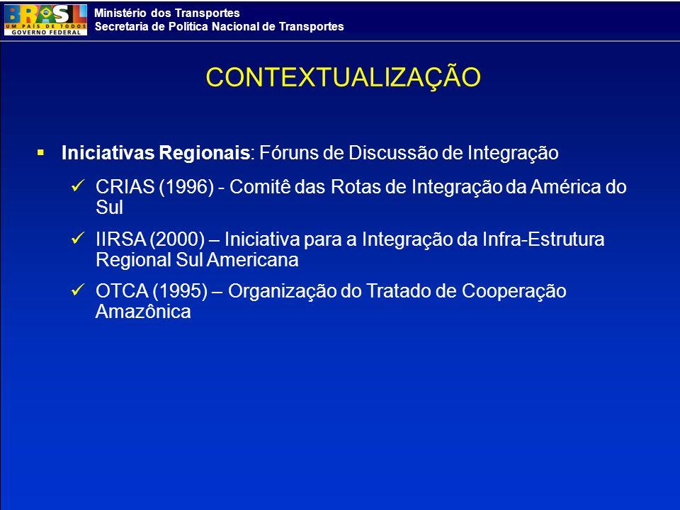 CONTEXTUALIZAÇÃO Iniciativas Regionais: Fóruns de Discussão de Integração. CRIAS (1996) - Comitê das Rotas de Integração da América do Sul.