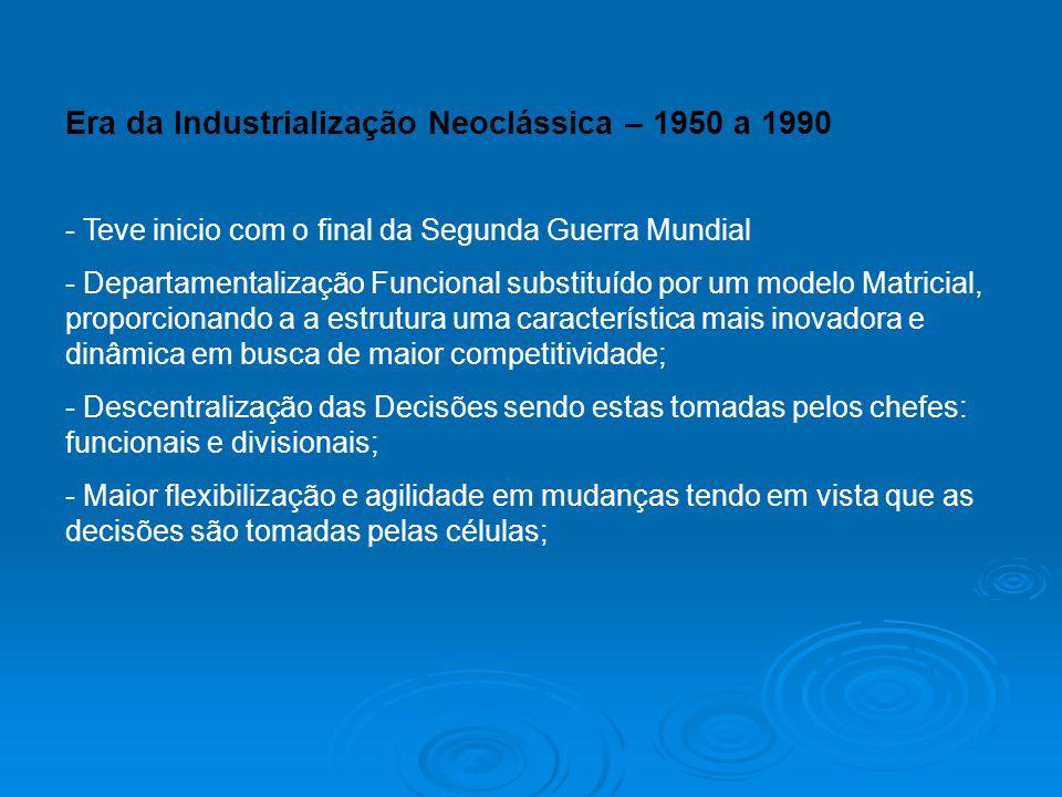 Era da Industrialização Neoclássica – 1950 a 1990