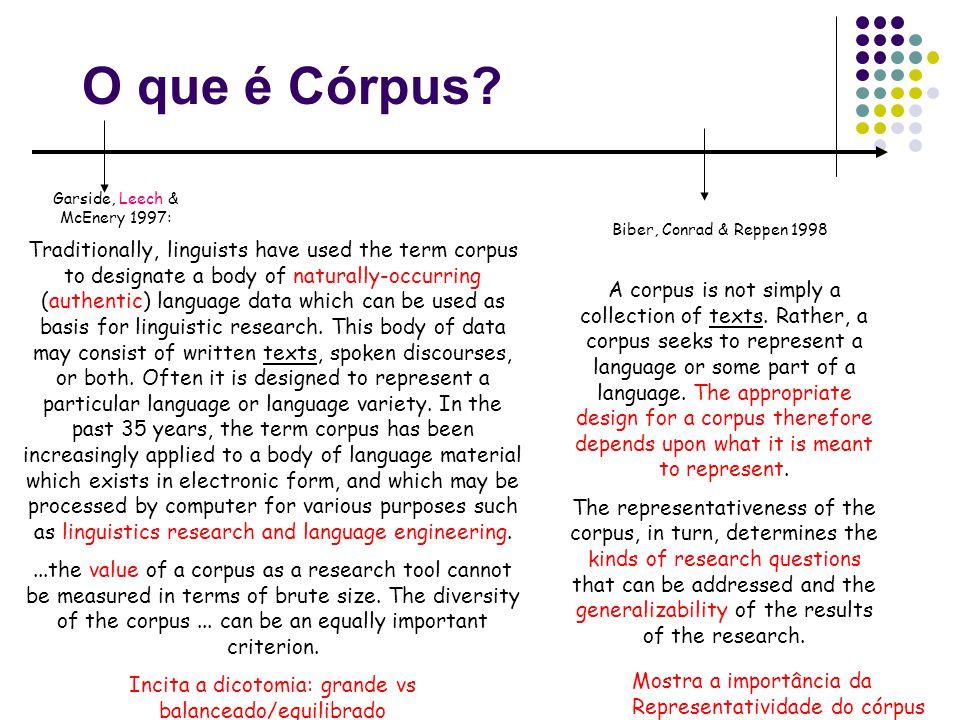 O que é Córpus Garside, Leech & McEnery 1997: Biber, Conrad & Reppen 1998.