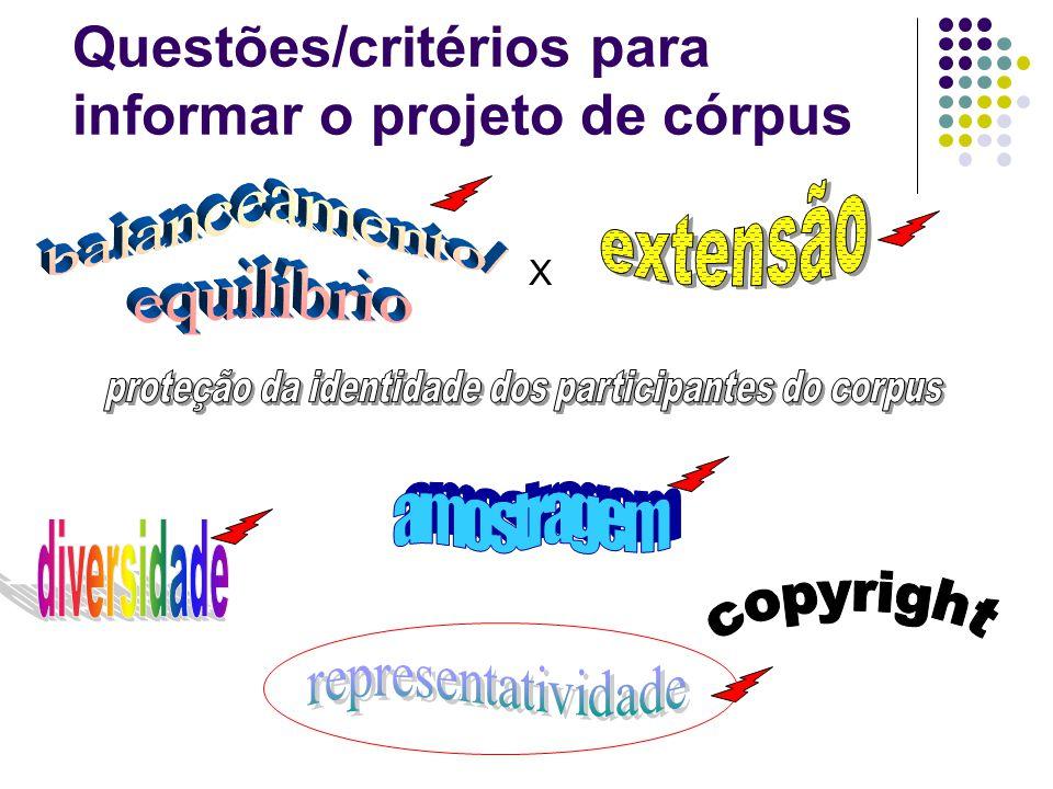 Questões/critérios para informar o projeto de córpus