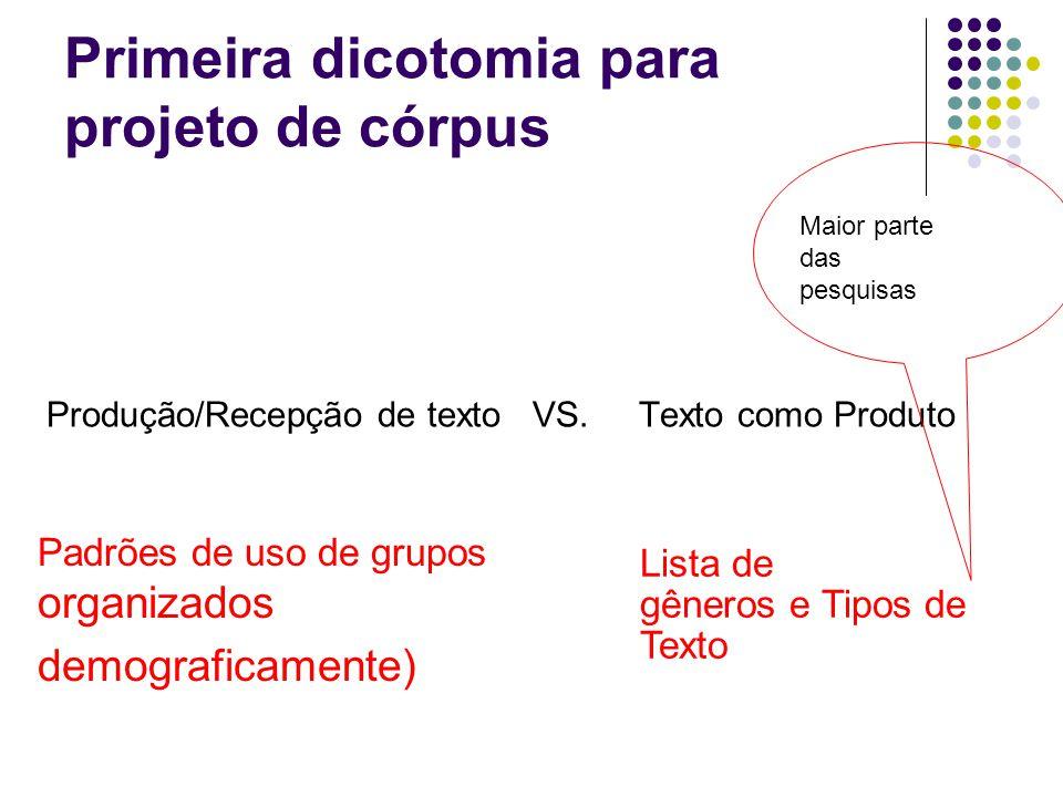 Primeira dicotomia para projeto de córpus