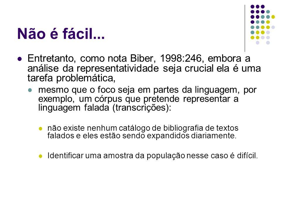 Não é fácil... Entretanto, como nota Biber, 1998:246, embora a análise da representatividade seja crucial ela é uma tarefa problemática,