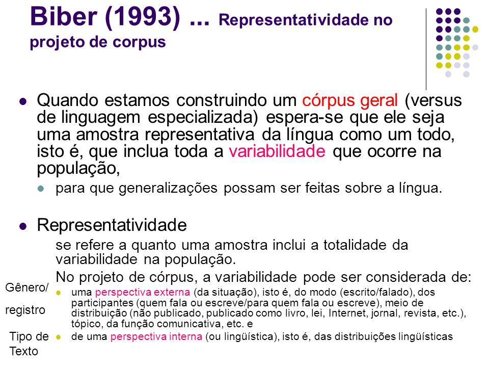 Biber (1993) ... Representatividade no projeto de corpus