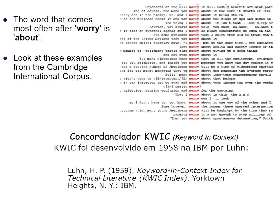 Concordanciador KWIC (Keyword in Context)