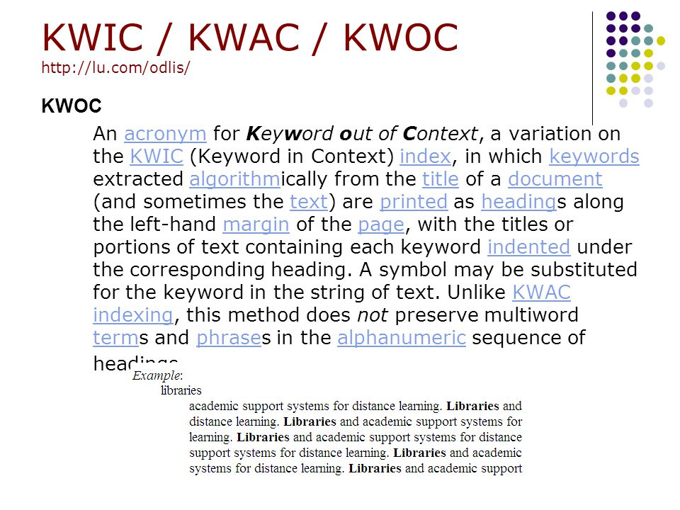 KWIC / KWAC / KWOC http://lu.com/odlis/