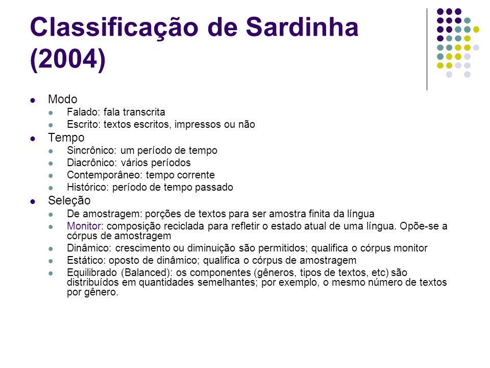 Classificação de Sardinha (2004)