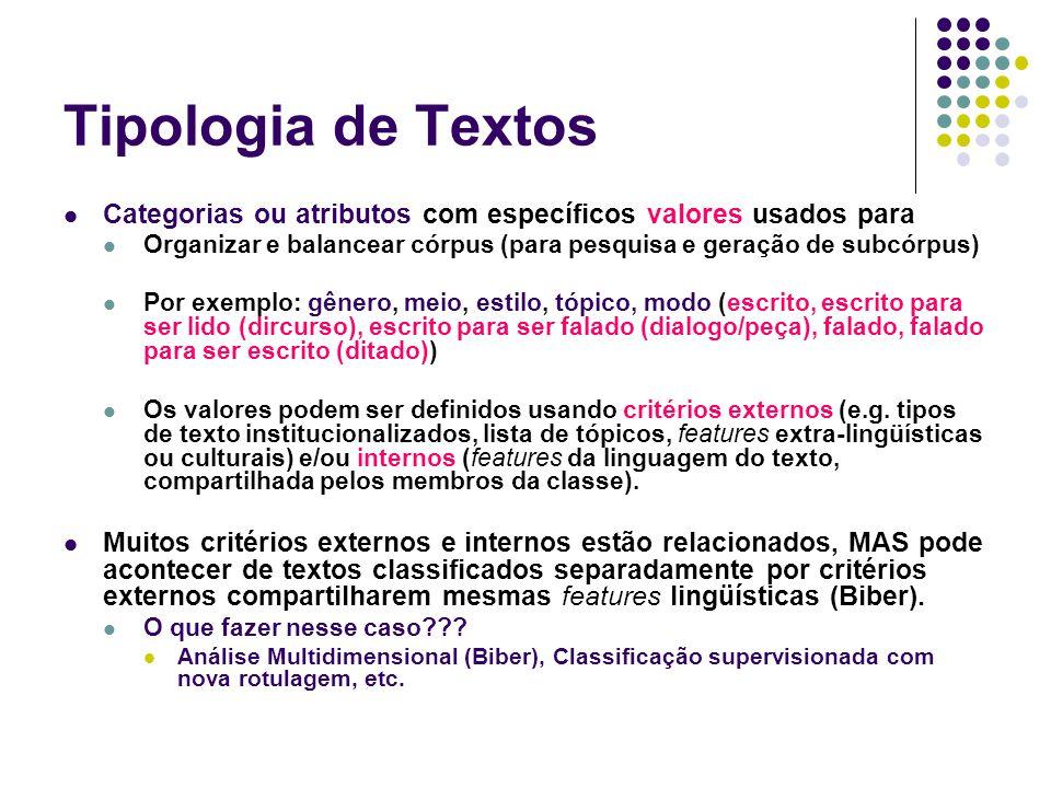 Tipologia de Textos Categorias ou atributos com específicos valores usados para. Organizar e balancear córpus (para pesquisa e geração de subcórpus)