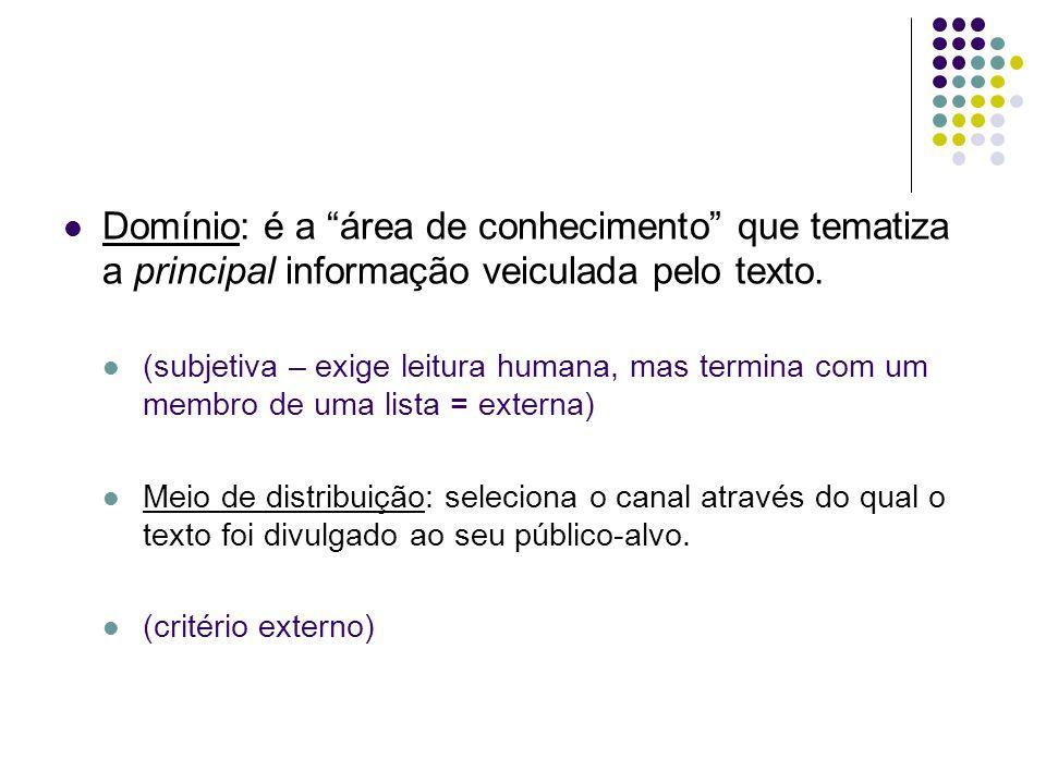 Domínio: é a área de conhecimento que tematiza a principal informação veiculada pelo texto.