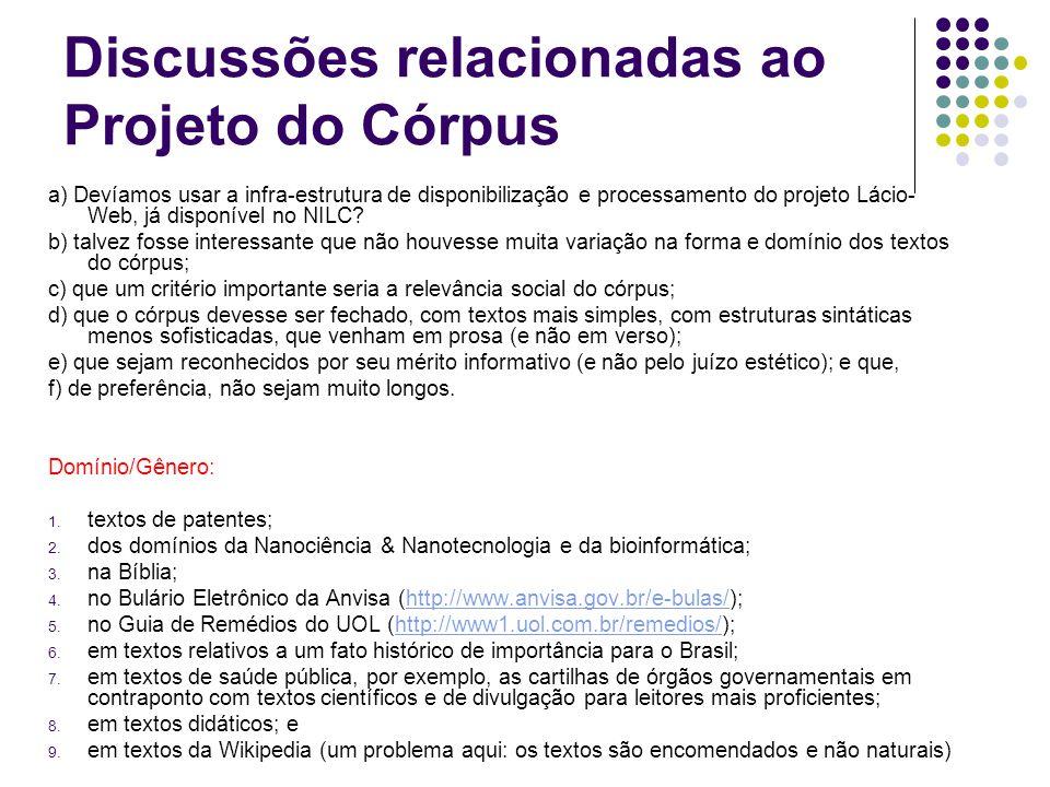 Discussões relacionadas ao Projeto do Córpus