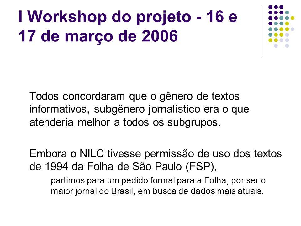 I Workshop do projeto - 16 e 17 de março de 2006