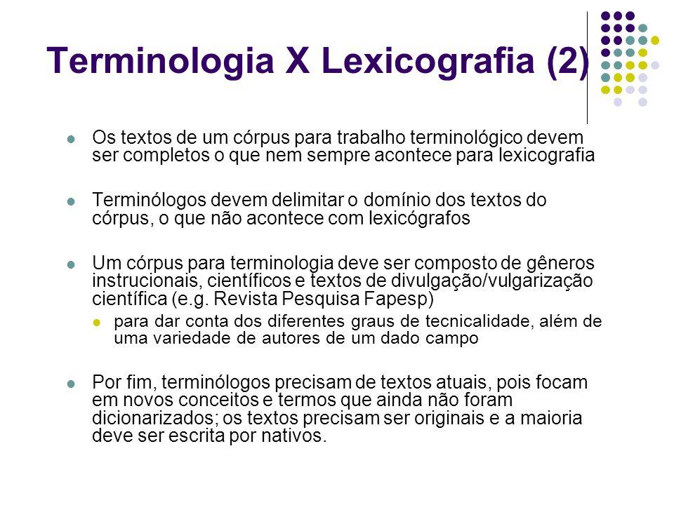 Terminologia X Lexicografia (2)