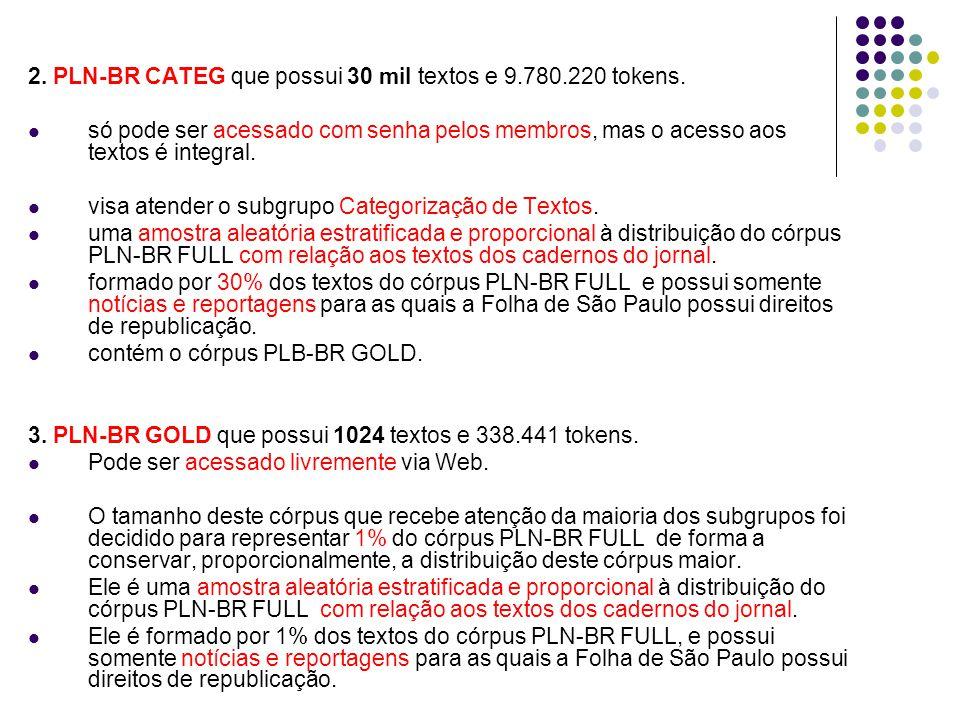 2. PLN-BR CATEG que possui 30 mil textos e 9.780.220 tokens.