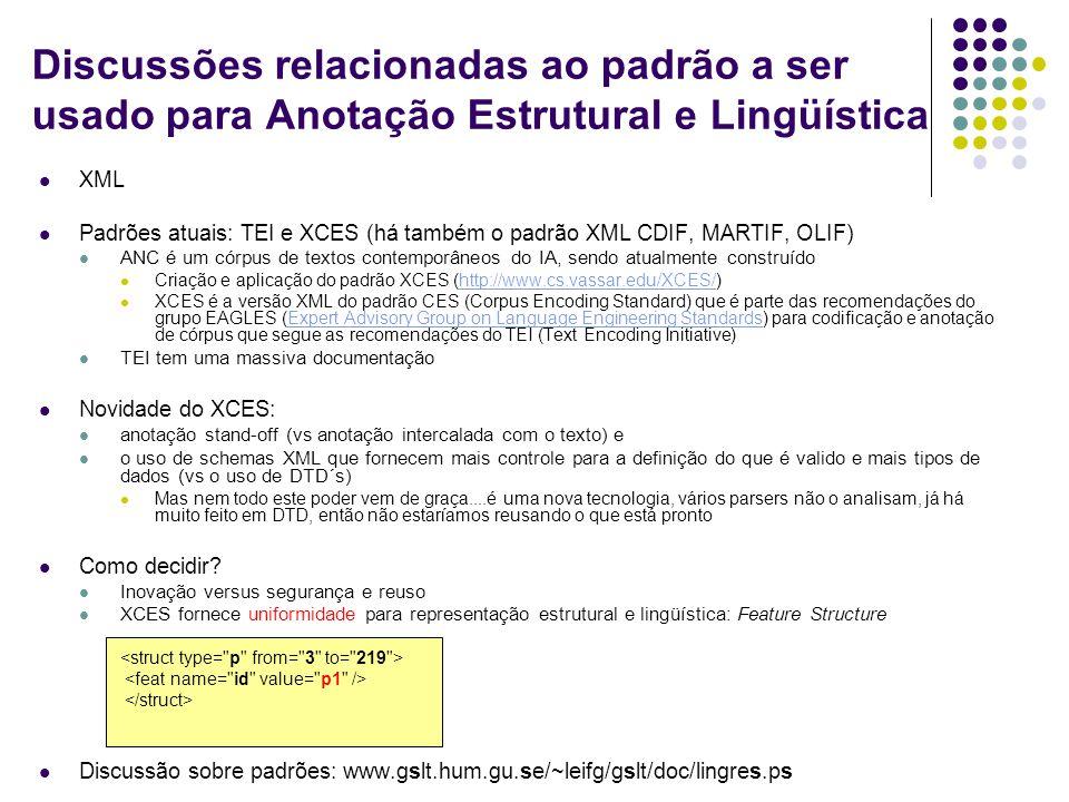 Discussões relacionadas ao padrão a ser usado para Anotação Estrutural e Lingüística