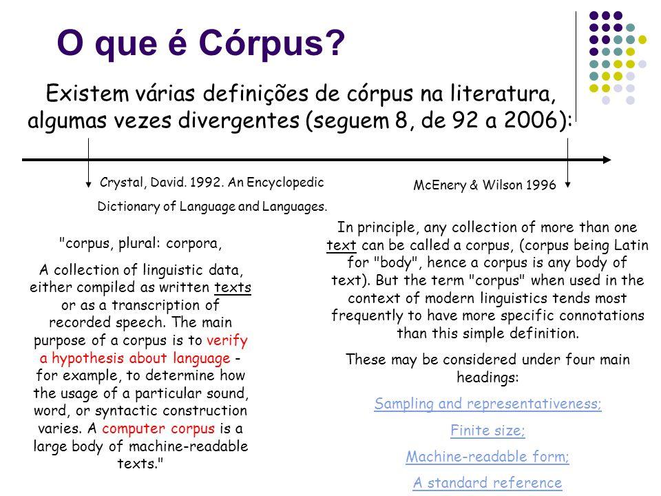 O que é Córpus Existem várias definições de córpus na literatura, algumas vezes divergentes (seguem 8, de 92 a 2006):