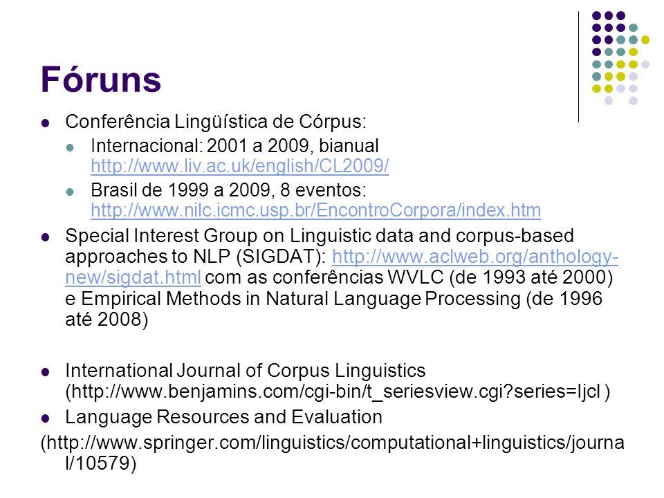 Fóruns Conferência Lingüística de Córpus: