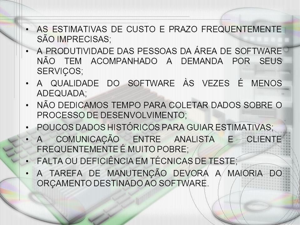 AS ESTIMATIVAS DE CUSTO E PRAZO FREQUENTEMENTE SÃO IMPRECISAS;