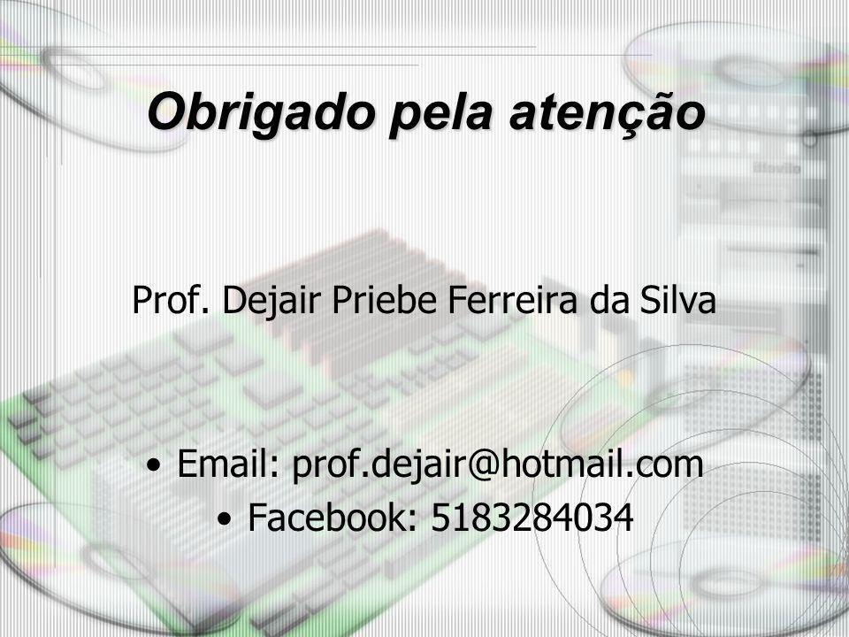 Obrigado pela atenção Prof. Dejair Priebe Ferreira da Silva