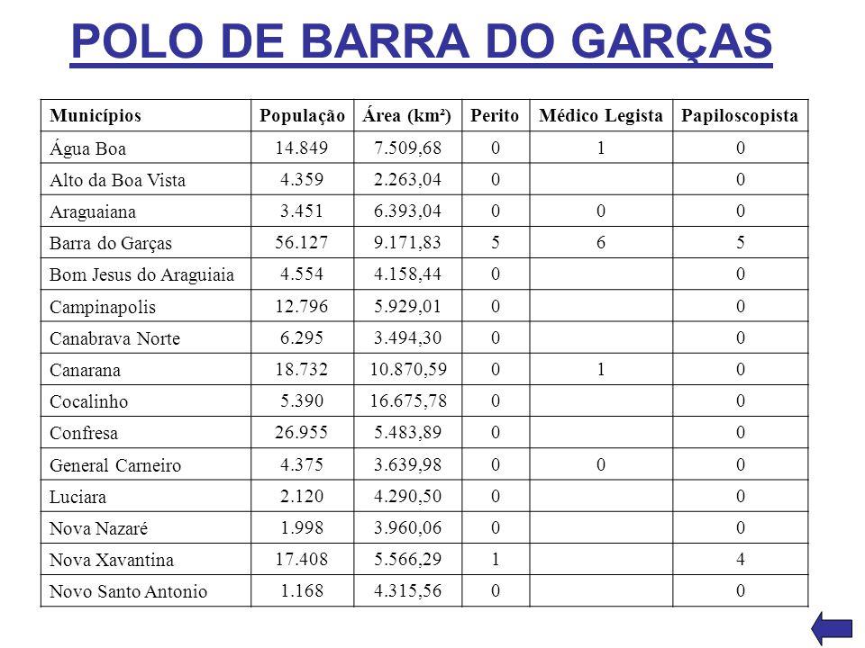 POLO DE BARRA DO GARÇAS Municípios População Área (km²) Perito