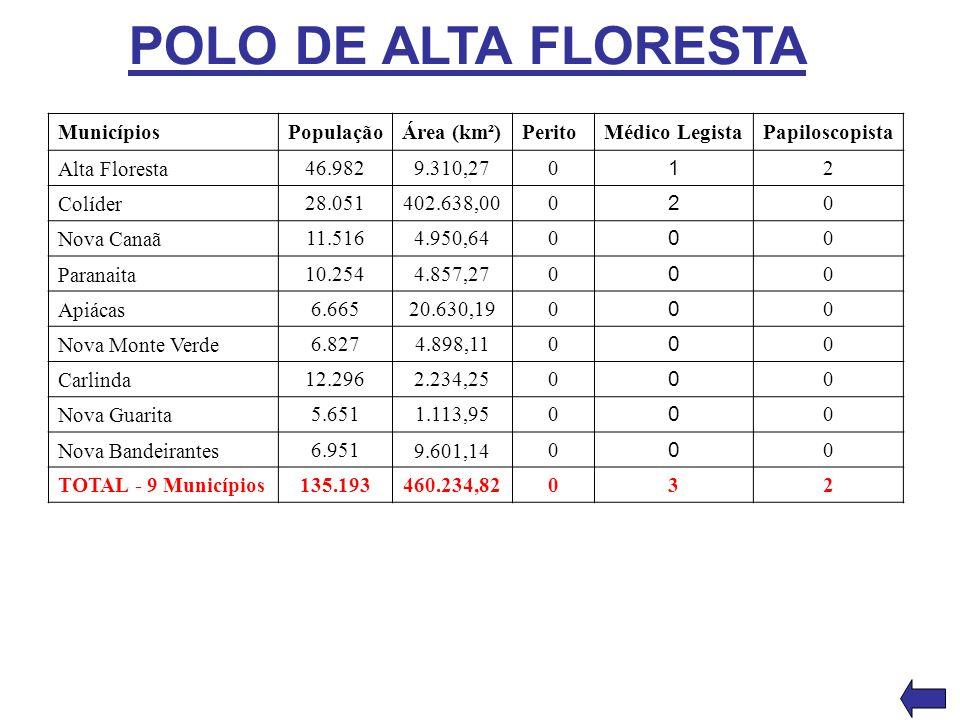 POLO DE ALTA FLORESTA Municípios População Área (km²) Perito