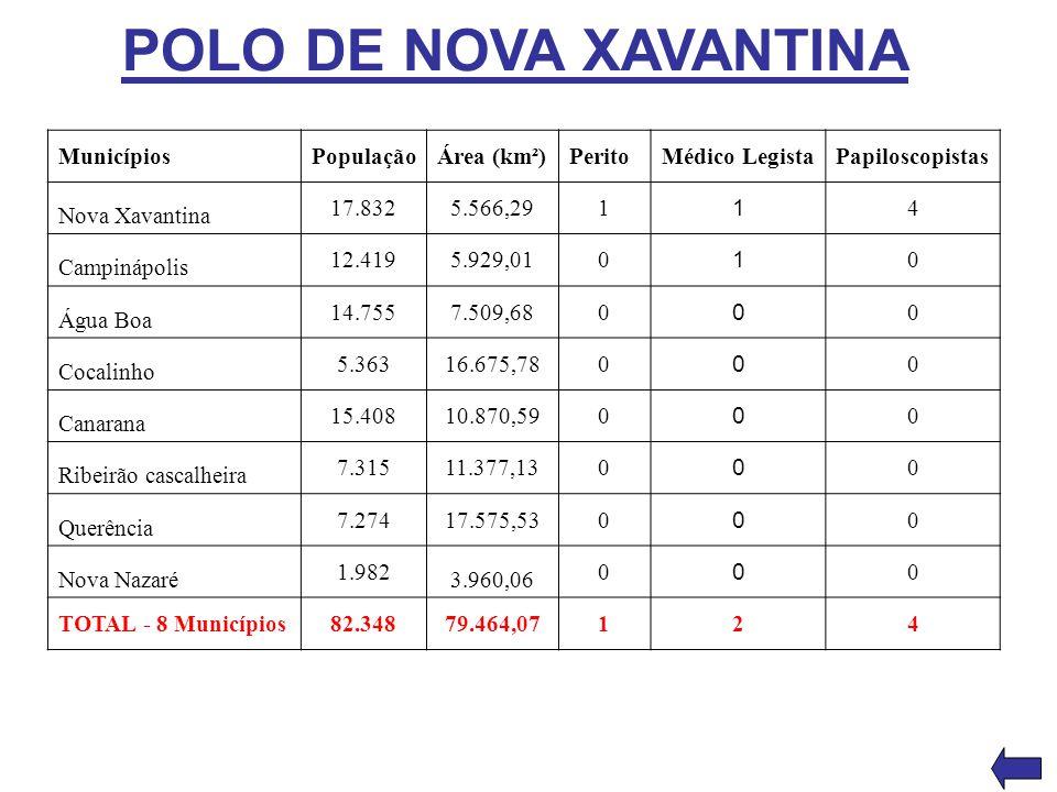 POLO DE NOVA XAVANTINA Municípios População Área (km²) Perito