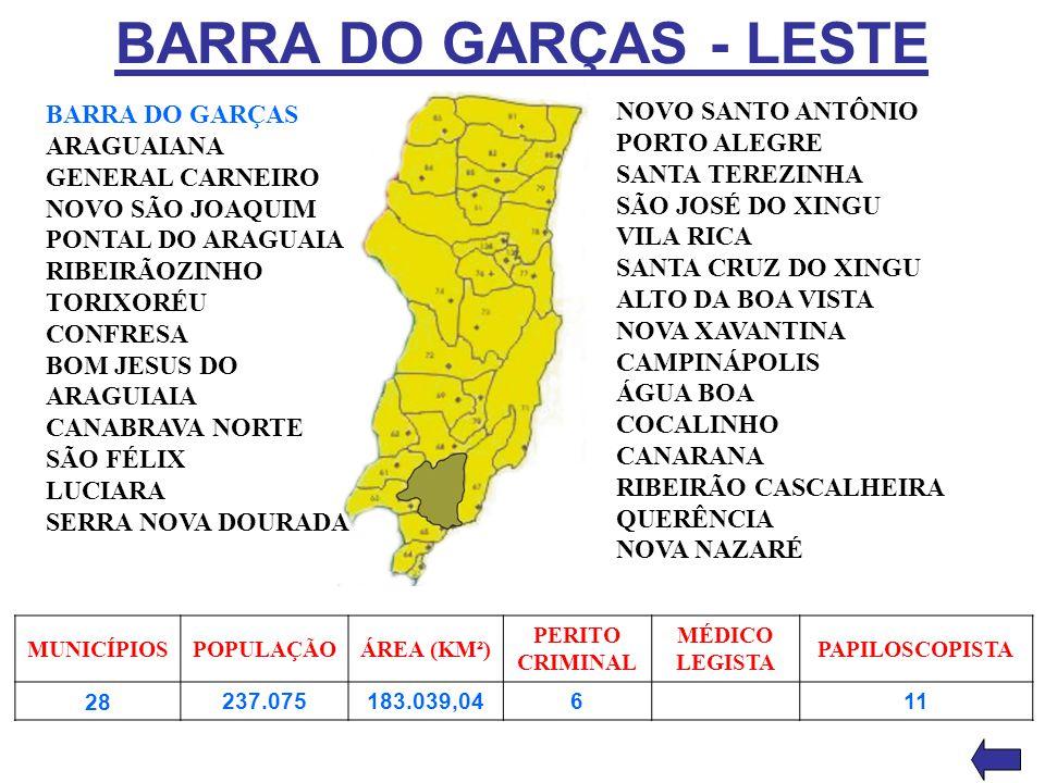 BARRA DO GARÇAS - LESTE NOVO SANTO ANTÔNIO BARRA DO GARÇAS