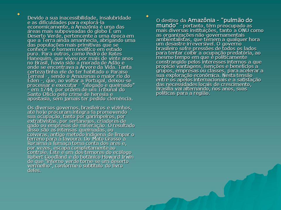 Devido a sua inacessibilidade, insalubridade e as dificuldades para explorá-la economicamente, a Amazônia é uma das áreas mais subpovoadas do globo É um Deserto Verde, pertencente a uma época em que a Terra ainda amanhecia, abrigando uma das populações mais primitivas que se conhece - o homem neolítico em estado puro. Para outros, como Pedro de Rates Hanequim, que viveu por mais de vinte anos no Brasil, havia sido a morada de Adão e onde se encontrava a Árvore da Vida. Tanta certeza tinha ele de ter habitado o Paraíso Terreal -, sendo o Amazonas o maior rio do Éden -, que, ao voltar a Portugal, deixou-se processar e executar - afogado e queimado - em 1744, por ordem de um Tribunal do Santo Ofício pelo crime de heresia e apostasia, sem jamais ter pedido clemência. Os diversos governos, brasileiros e vizinhos, até hoje procuram integra-la promovendo sua ocupação, tanto por garimpeiros, por extrativistas, por sertanejos, criadores de gado ou empresas de mineração. O resultado disso são as intensas queimadas, ou coivaras, antigo método indígena de limpar o terreno para a lavoura. Do Mato Grosso à Roraima a fumaça toma conta dos ares e, por vezes, escapa completamente ao controle. Este é um dos temores do ecólogo Robert Goodland e do botânico Howard Irwin de que inferno verde torne-se um deserto vermelho , conforme o subtítulo do livro deles.