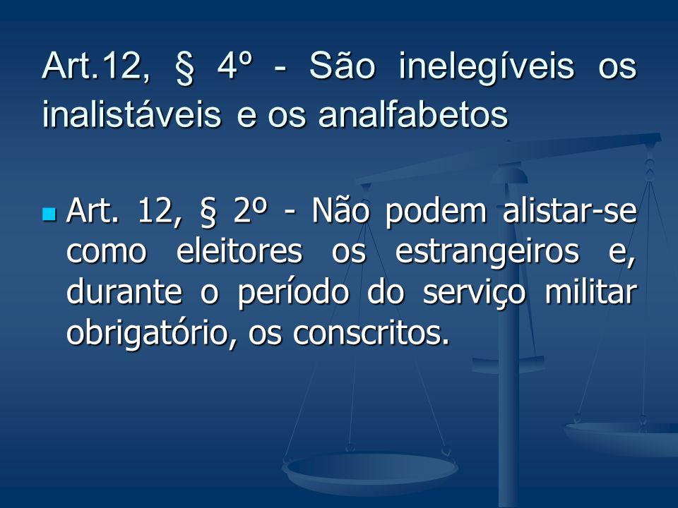 Art.12, § 4º - São inelegíveis os inalistáveis e os analfabetos