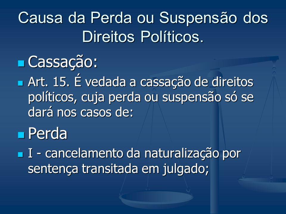 Causa da Perda ou Suspensão dos Direitos Políticos.