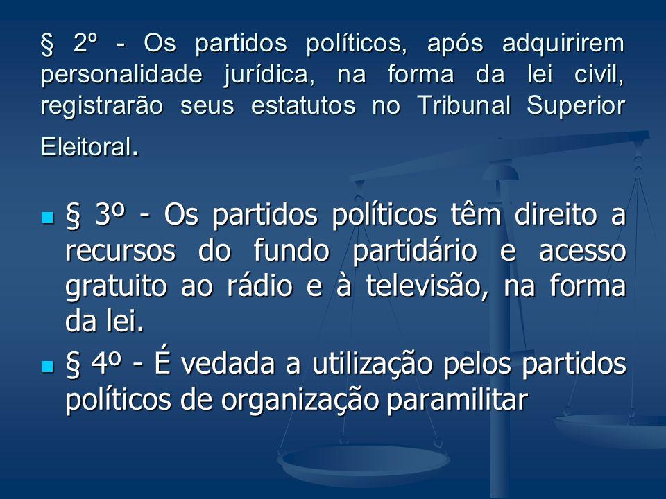 § 2º - Os partidos políticos, após adquirirem personalidade jurídica, na forma da lei civil, registrarão seus estatutos no Tribunal Superior Eleitoral.