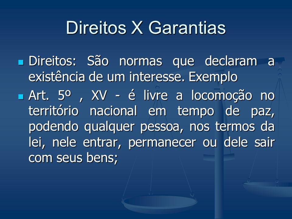 Direitos X Garantias Direitos: São normas que declaram a existência de um interesse. Exemplo.