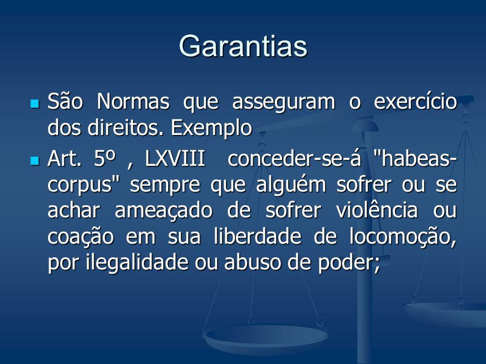 Garantias São Normas que asseguram o exercício dos direitos. Exemplo