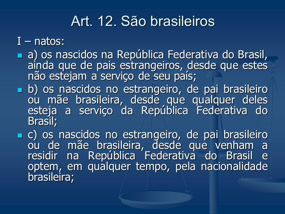 Art. 12. São brasileiros I – natos: