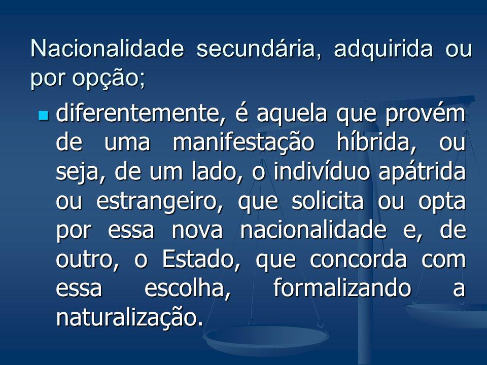 Nacionalidade secundária, adquirida ou por opção;
