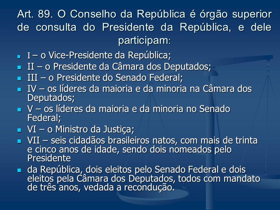 Art. 89. O Conselho da República é órgão superior de consulta do Presidente da República, e dele participam: