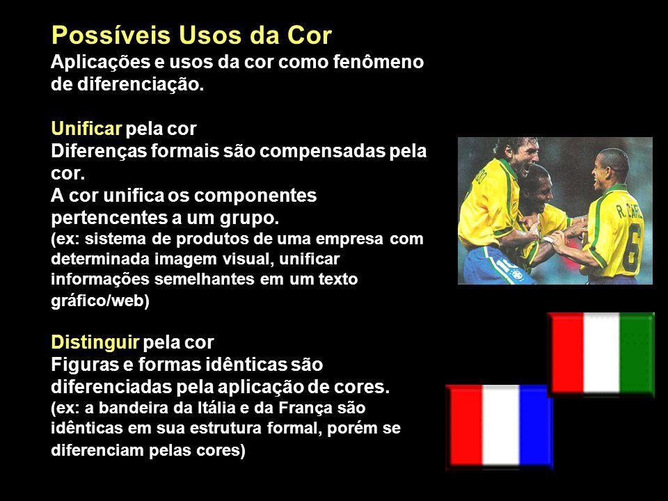 Possíveis Usos da Cor Aplicações e usos da cor como fenômeno de diferenciação.