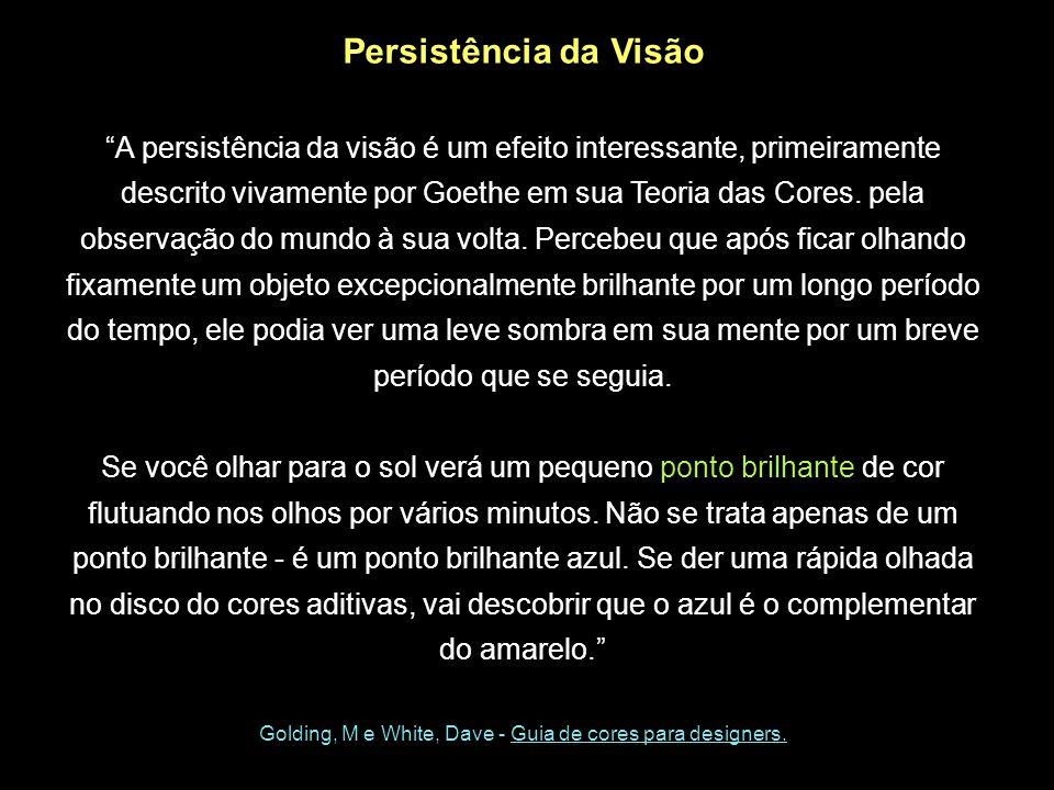 Persistência da Visão A persistência da visão é um efeito interessante, primeiramente descrito vivamente por Goethe em sua Teoria das Cores.