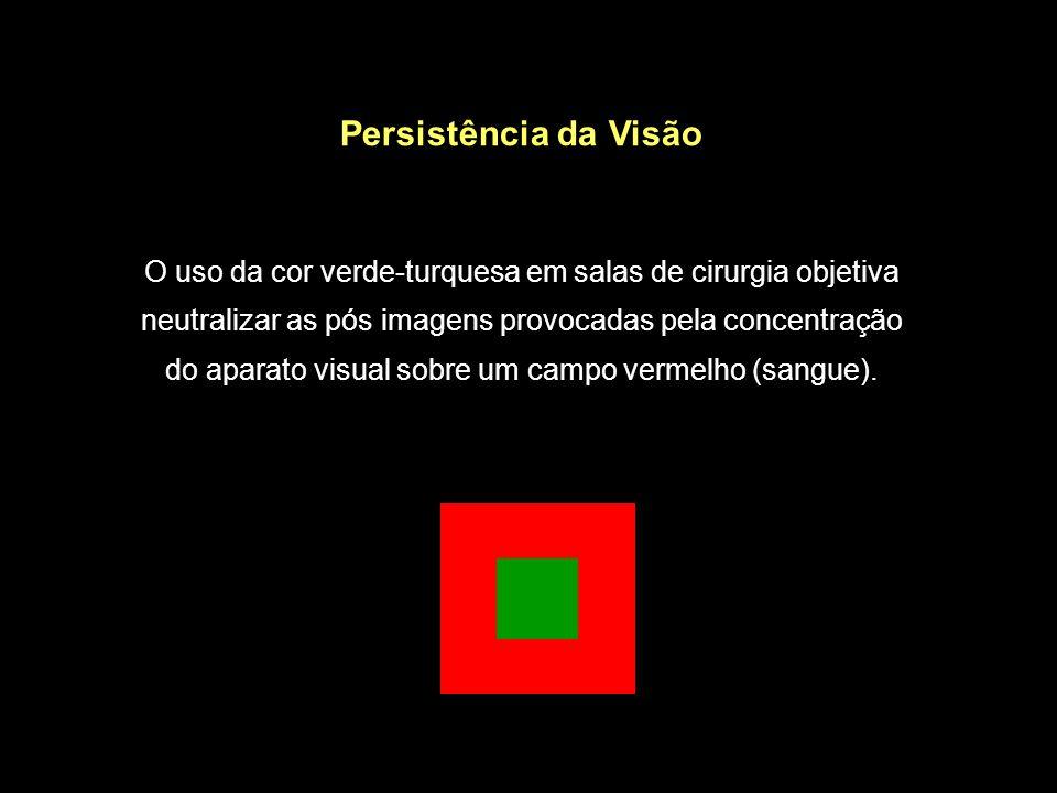 Persistência da Visão O uso da cor verde-turquesa em salas de cirurgia objetiva neutralizar as pós imagens provocadas pela concentração do aparato visual sobre um campo vermelho (sangue).