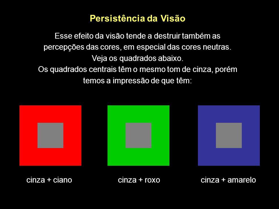 Persistência da Visão Esse efeito da visão tende a destruir também as percepções das cores, em especial das cores neutras. Veja os quadrados abaixo. Os quadrados centrais têm o mesmo tom de cinza, porém temos a impressão de que têm: