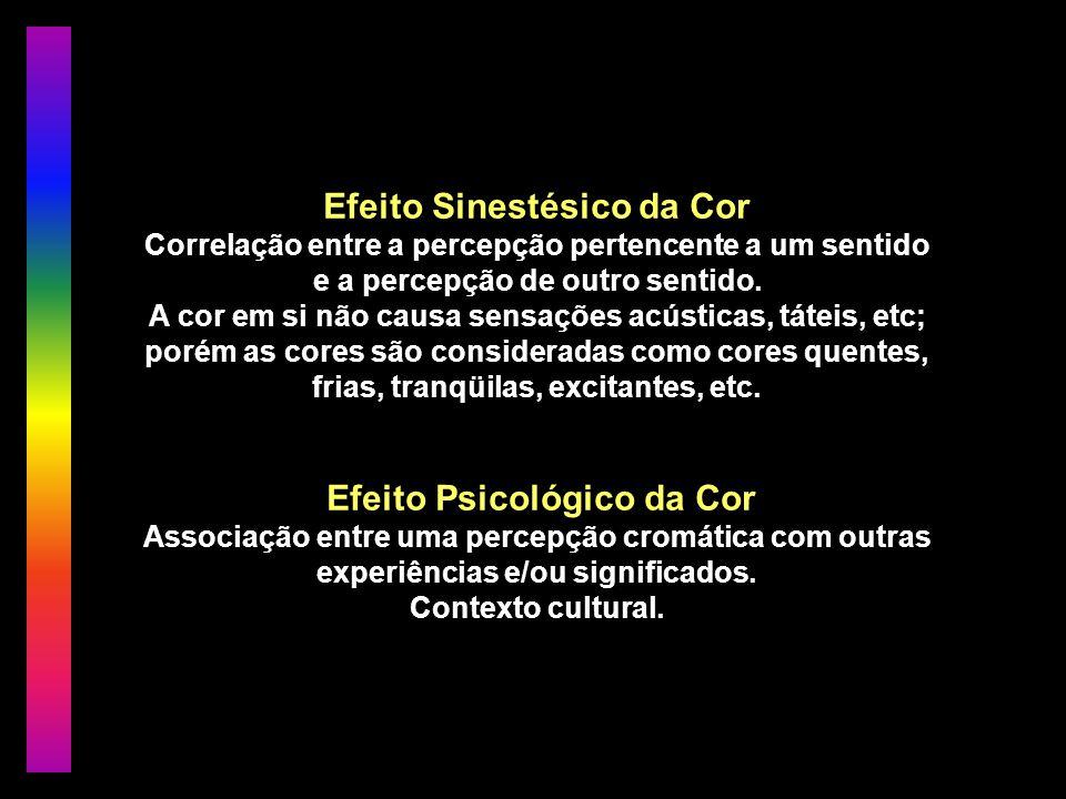 Efeito Sinestésico da Cor Correlação entre a percepção pertencente a um sentido e a percepção de outro sentido.