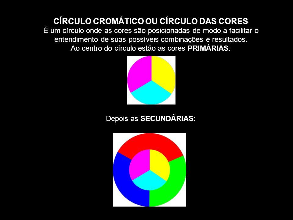 CÍRCULO CROMÁTICO OU CÍRCULO DAS CORES É um círculo onde as cores são posicionadas de modo a facilitar o entendimento de suas possíveis combinações e resultados.
