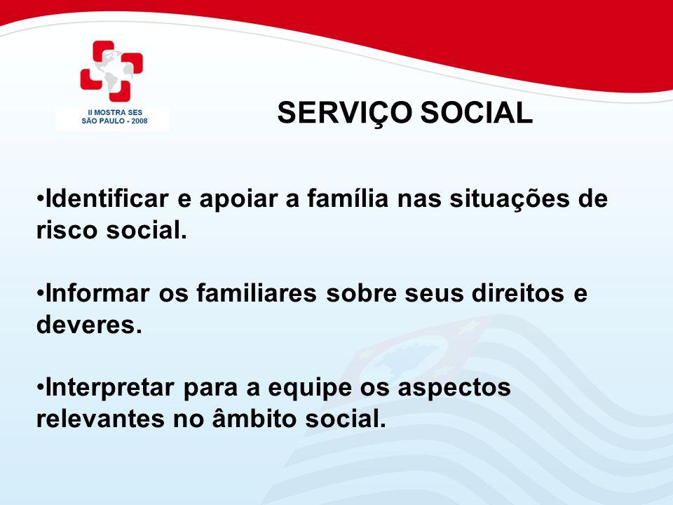 SERVIÇO SOCIAL Identificar e apoiar a família nas situações de risco social. Informar os familiares sobre seus direitos e deveres.