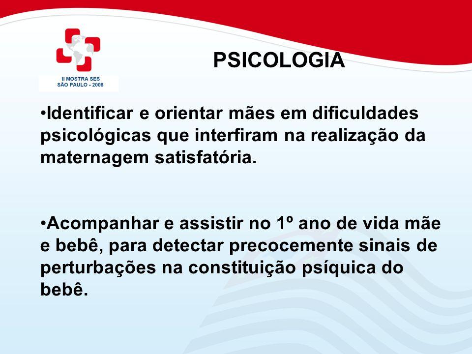 PSICOLOGIA Identificar e orientar mães em dificuldades psicológicas que interfiram na realização da maternagem satisfatória.