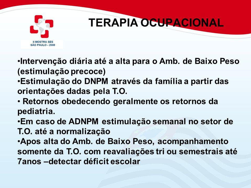 TERAPIA OCUPACIONAL Intervenção diária até a alta para o Amb. de Baixo Peso (estimulação precoce)