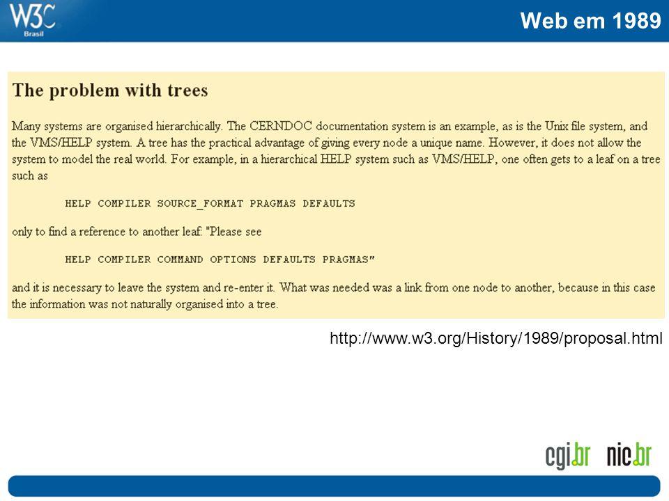 Web em 1989 http://www.w3.org/History/1989/proposal.html Passado