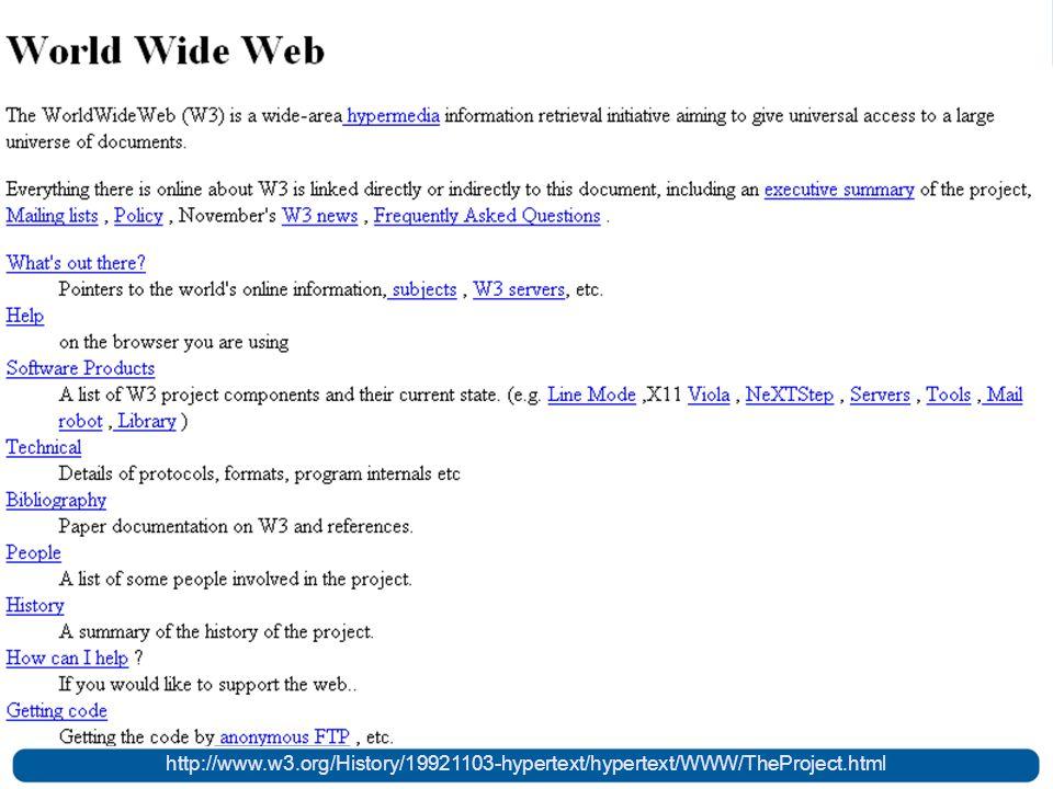 Web em 1989 http://www.w3.org/History/19921103-hypertext/hypertext/WWW/TheProject.html