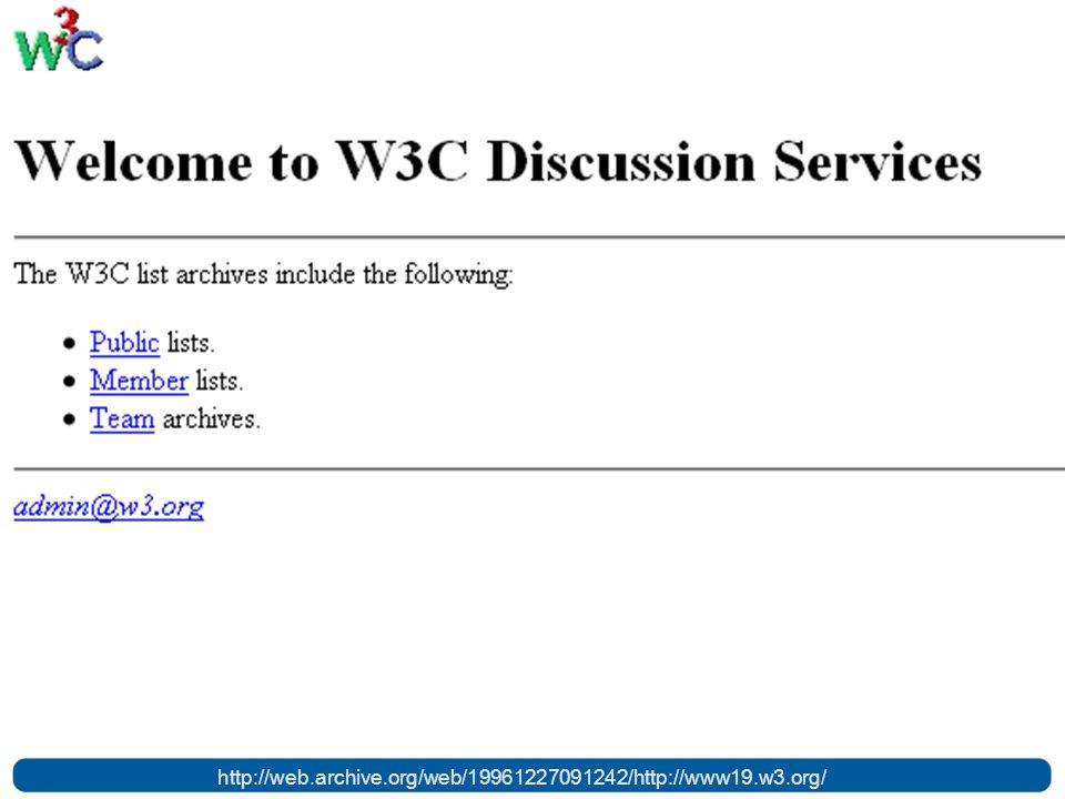 Em 1994 é criado o W3C http://web.archive.org/web/19961227091242/http://www19.w3.org/