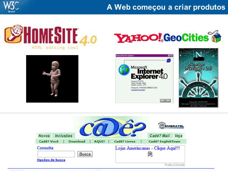 A Web começou a criar produtos