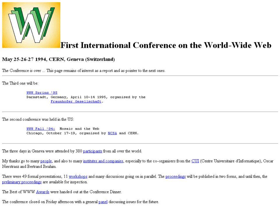 Durante a primeira conferência WWW, em 1994, Tim Berners Lee fala pela primeira vez em Espaços Colaborativos, com colaborações sincronizadas, anotações, e principalmente Web Semântica.