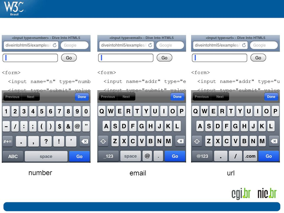 O com isso o html5 tambem permite a melhor adaptacao dos disposivos à sua aplicação, por exemplo este, onde o teclado se adapta de acordo com campo do formulario.