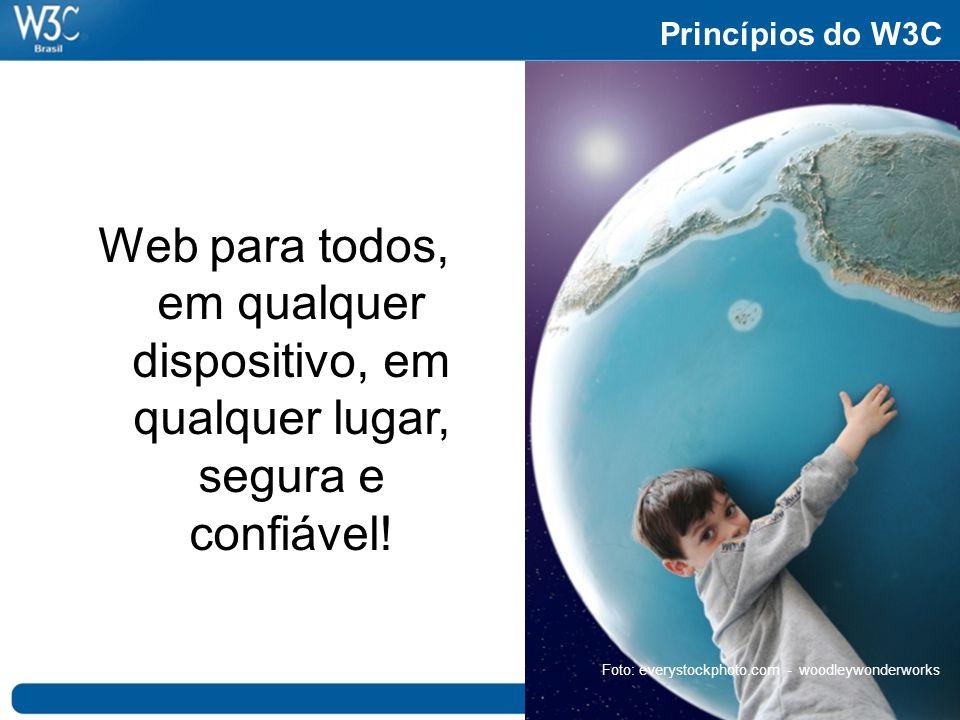 Princípios do W3C Web para todos, em qualquer dispositivo, em qualquer lugar, segura e confiável.